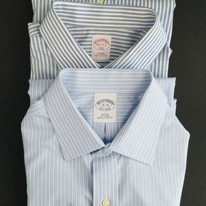 Brooks Brothers Lot of 2 Dress Shirts Blue Striped